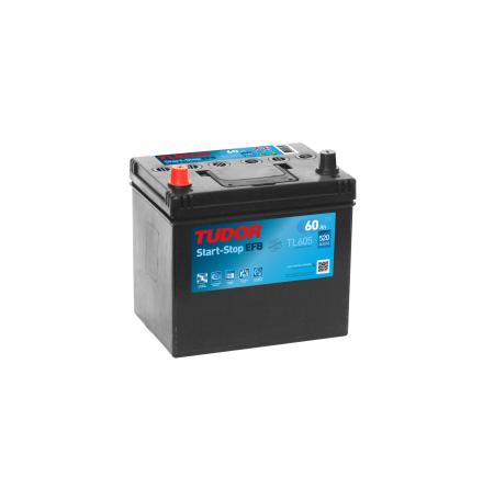 Bilbatteri 60Ah Tudor Exide TL605 Start-Stop EFB. LxBxH:230x175x222mm