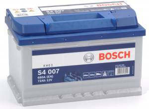 Bilbatteri 12V 72Ah Bosch S4007 DIN: 572409068 LxBxH:278x175x175mm