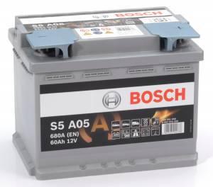 Bilbatteri AGM 12V 60Ah Bosch S6005 S5A05 LxBxH:242x175x190mm DIN:560901068