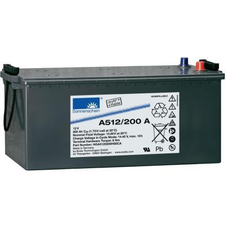 Gelbatteri 12V 200Ah Sonnenschein A512/200A. LxBxH:480/518x276x238mm