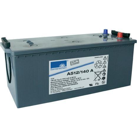 Gelbatteri 12V 140Ah Sonnenschein A512/140A. LxBxH:480/513x223x223mm