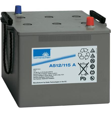 Gelbatteri 12V 115Ah Sonnenschein A512/115A. LxBxH:286x269x230mm