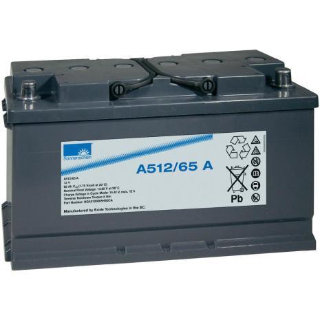 Gelbatteri 12V 65Ah Sonnenschein A512/65A. LxBxH:353x175x190mm