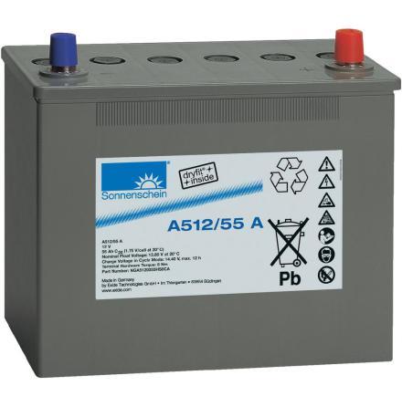 Gelbatteri 12V 55Ah Sonnenschein A512/55A. LxBxH:261x135x230