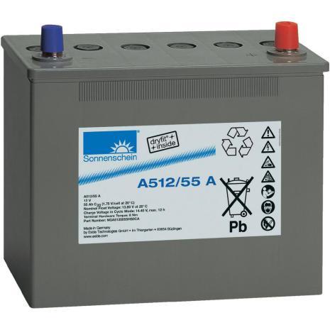 Gelbatteri 12V 55Ah Sonnenschein A512/55A. LxBxH:261x135x230mm