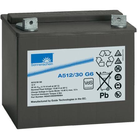 Gelbatteri 12V 40Ah Sonnenschein A512/30 G6. LxBxH:197x132x180mm