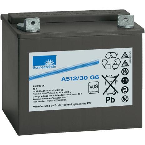 Gelbatteri 12V 30Ah Sonnenschein A512/30 G6. LxBxH:197x132x180mm