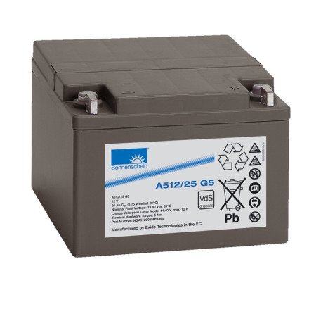 Gelbatteri 12V 25Ah Sonnenschein A512/25G5. LxBxH:176x167x126mm