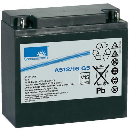 Gelbatteri 12V 16Ah Sonnenschein A512/16G5. LxBxH:181x76x167mm