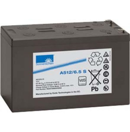 Gelbatteri 12V 6,5Ah Sonnenschein A512/6,5S. LxBxH:152x65,5x98,4mm
