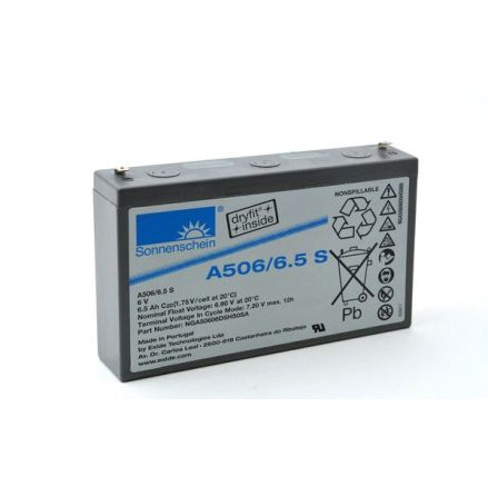 Gelbatteri 6V 6,5Ah Sonnenschein A506/6,5S. LxBxH:152x34,5x98,4mm