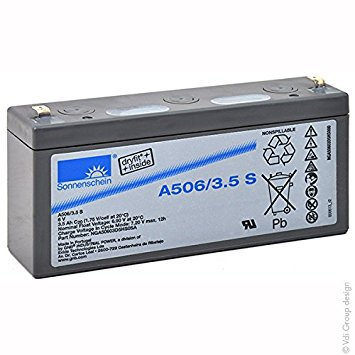 Gelbatteri 6V 3,5Ah Sonnenschein A506/3,5S. LxBxH:135x34,8x64,4mm