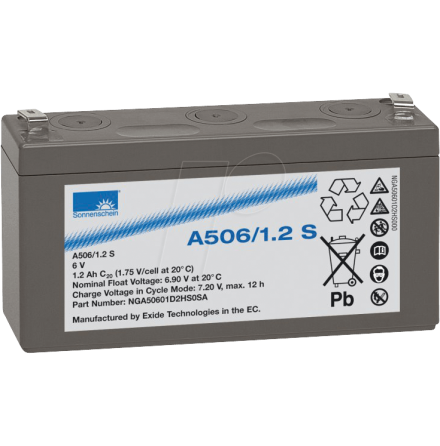 Gelbatteri 6V 1,2Ah Sonnenschein A506/1,2S. LxBxH:97,3x25,5x54,9mm