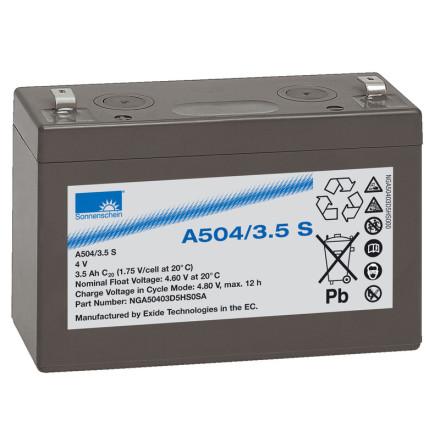 Gelbatteri 4V 3,5Ah Sonnenschein A504/3,5S. LxBxH:90,5x34,5x64,4mm