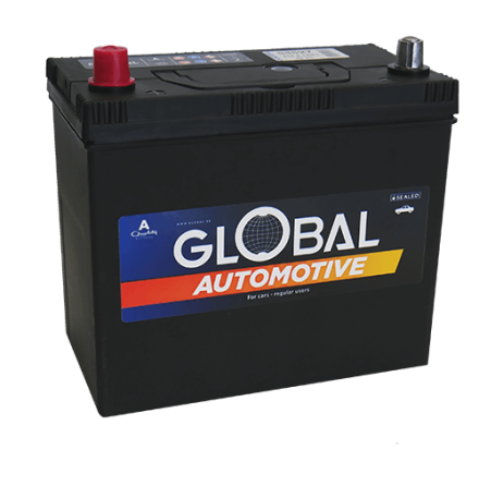 Bilbatteri 12V 45Ah Global 54527 LxBxH:238x128x202/225mm EAN 7394086545276