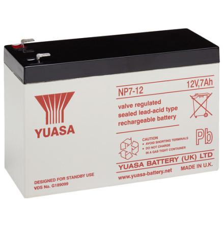 AGM batteri YUASA  NP7-12 12V 7Ah LxBxH:151x65x97,5mm