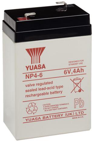 AGM batteri YUASA  NP4-6 6V 4Ah LxBxH:70x47x105mm