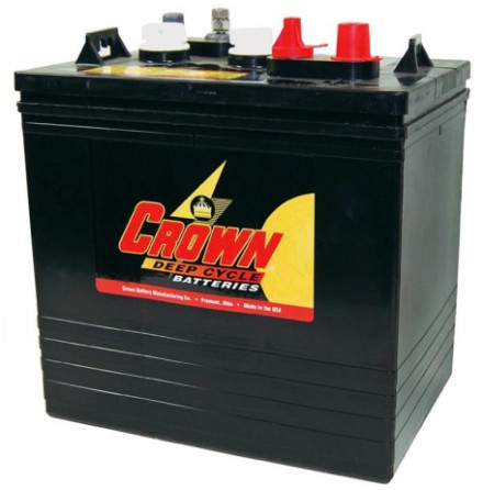 Deep-cycle batteri 6V 235Ah CROWN LxBxH:260x181x273mm Typ T-125 Trojan