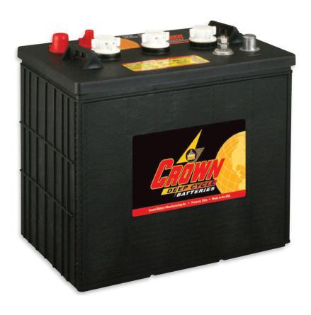 Deep-cycle batteri 6V 260 Ah CROWN lxbxh=260x183x292 mm Typ T-145 plus Trojan