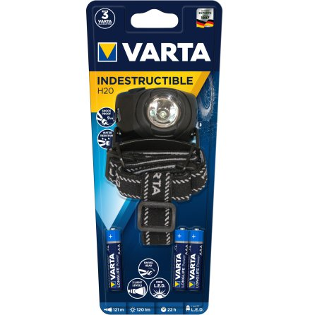 VARTA INDESTRUCTIBLE H20 HEAD LIGHT 1W LED 3AAA