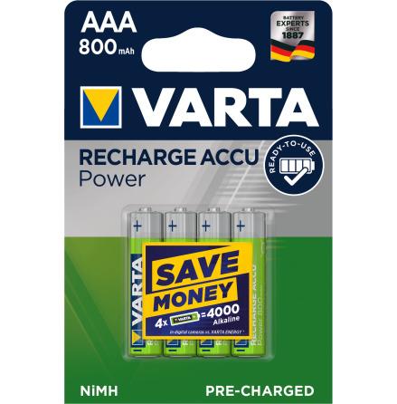 VARTA RECHARGE ACCU POWER R2U AAA 800mAh 4-PACK