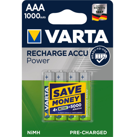 VARTA RECHARGE ACCU POWER R2U AAA 1000mAh 4-PACK