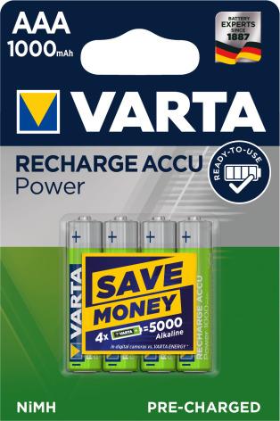 VARTA ACCU POWER R2U AAA 1000mAh 4-PACK