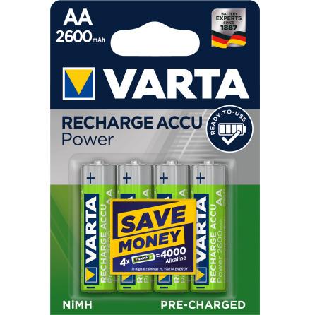 VARTA RECHARGE ACCU POWER R2U AA 2600mAh 4-PACK