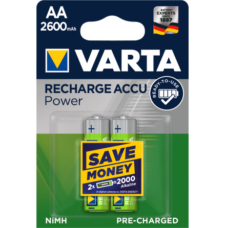 VARTA RECHARGE ACCU POWER R2U AA 2600mAh 2-PACK