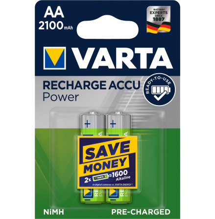 VARTA RECHARGE ACCU POWER R2U AA 2100mAh 2-PACK