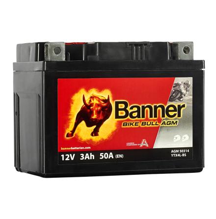 Banner Mc Batteri AGM YTX4L-BS 12V 3Ah
