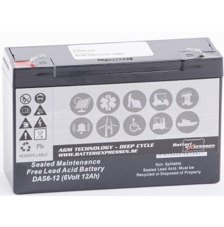 AGM batteri 6V 12Ah