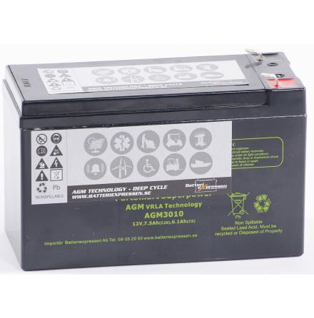 AGM Batteri 12V 7,5Ah AGM3010