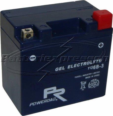 MC-batteri GEL 6Ah YT6B-3,YG6B-3 lxbxh=113x70x105mm Extreme Poweroad