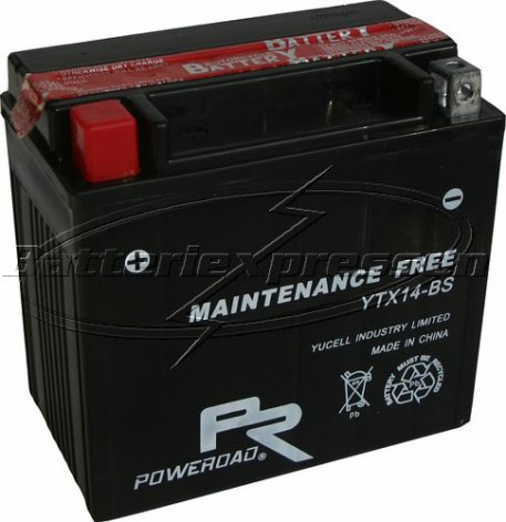 MC-batteri AGM 12 Ah YTX14-BS Poweroad SP6 lxbxh=151x87x146mm