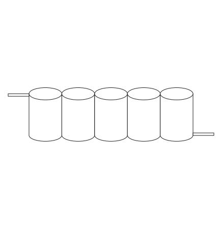 Batteripack 6V 2,5 Ah kabel sida, NiCd, Nödljusbatteri