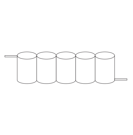 Batteripack 6,0V 1,7 Ah kabel sida, NiCd, Nödljusbatteri