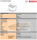 Startbatteri Bosch 12V/52Ah