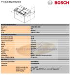 Bilbatteri 12V 60Ah Bosch S4025 DIN: 560411054 LxBxH:232x173x225mm