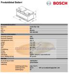 Bilbatteri 12V 85Ah Bosch S5010 DIN: 585200080 LxBxH:315x175x175mm