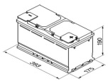 Bilbatteri AGM 12V 105Ah Bosch S5A15 LxBxH:393x175x190mm DIN:605901095