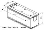 Startbatteri 12V 140Ah Bosch T4076 LxBxH:480/513x189x223mm DIN:640400080