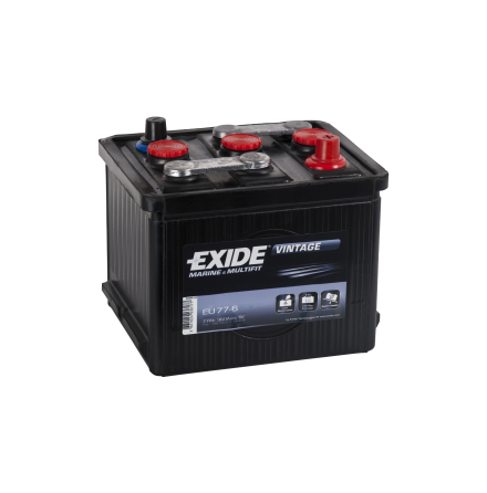 Startbatteri 6V 77Ah Tudor Exide Vintage EU77-6 LxBxH:215x169x184mm veteranbilsbatteri