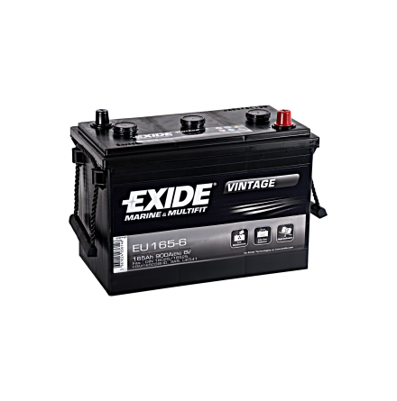 Startbatteri 6V165Ah Tudor Exide Vintage EU165-6. LxBxH:330x174x234mm veteranbilsbatteri