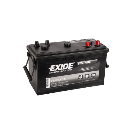Startbatteri 6V200Ah Tudor Exide Vintage EU200-6. LxBxH:398x174x234mm  veteranbilsbatteri