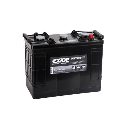 Startbatteri 6V260Ah Tudor Exide Vintage EU260-6. LxBxH:350x175x290mm veteranbilsbatteri