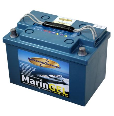 Gelbatteri Marin 75Ah Batteriexpressen. LxBxH:272x165x190mm