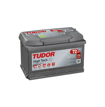 Startbatteri 72Ah Tudor Exide TA722 High Tech. LxBxH:278x175x175mm