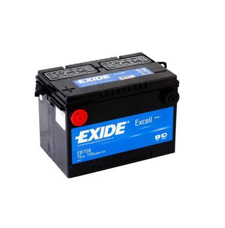 Startbatteri 75Ah Tudor Exide USA EB758. LxBxH:260x180x186mm