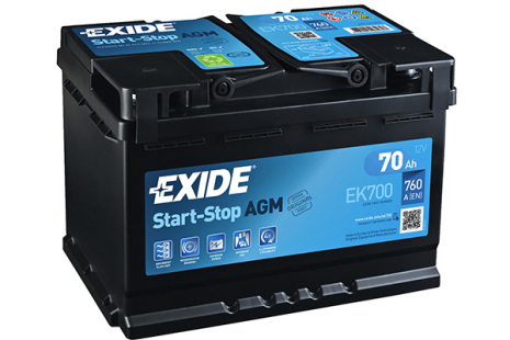 Startbatteri 70Ah AGM Tudor Exide EK700. LxBxH:278x175x190mm